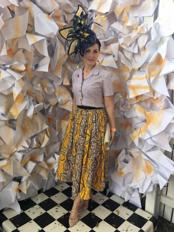 Lucy looking bright and fun in a gorgeous African inspired skirt with a classic twist