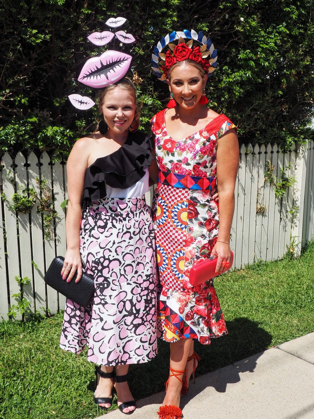 Sophie & I - both wearing custom made Milva Carucci Design outfits and Allport Millinery   Image - Allport Millinery