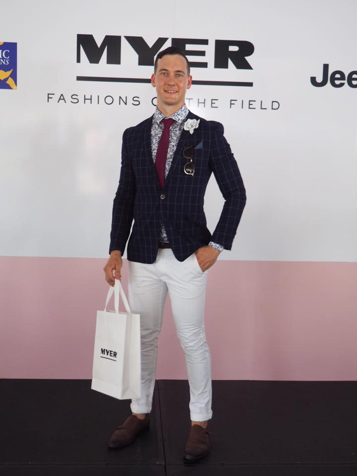 Ashley making Top 10 in the Men's Fashion. Wearing Myer brands Politx and Jeffery Banks Styled by me  Image - Allport Millienery
