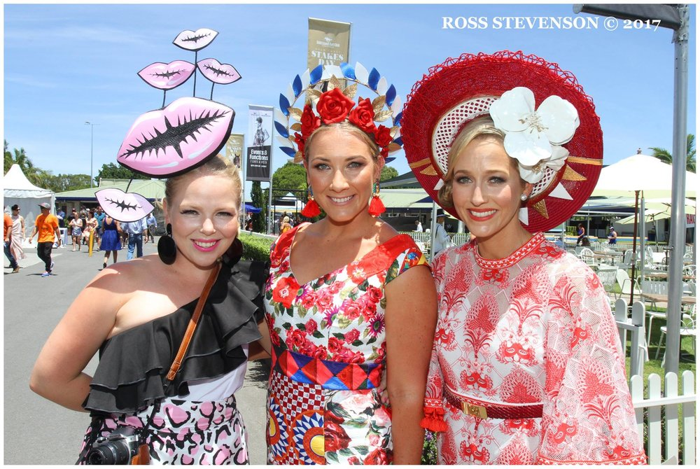 The ladies! Nothing better then a fashion fun day at the track with gorgeous friends! Gorgeous Carly (right) made the Top 10 in her gorgeous outfit and own millinery piece!   image - Ross Stevenson