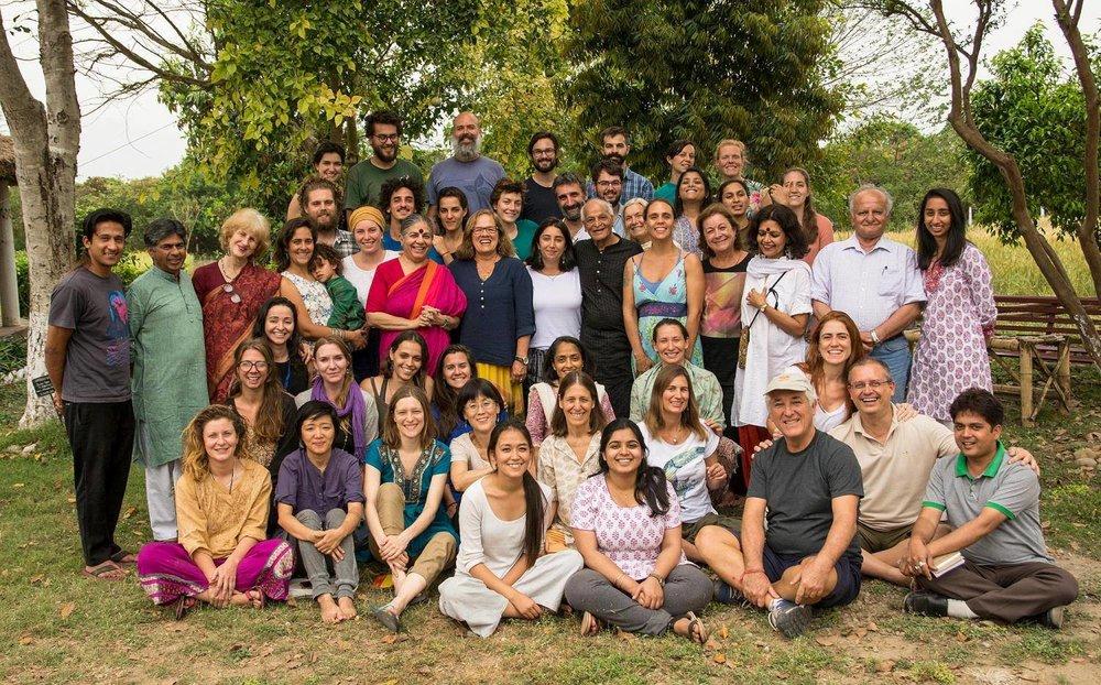 Phoebe & Isobel with the other Bijas at the 'Gandhi, Globalisation &GNH' course led by Dr Shiva & Satish Kumar. Navdanya, April 2016.
