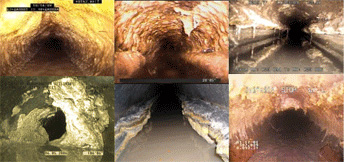 Photo: Examples from Canada and the United States of grease, fats and oil buildup restricting the flow of wastewater in sewer lines.