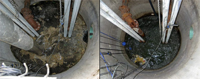 "Photo: Example of lift station BEFORE rapid grease buildup problem (12"" of grease vacuumed off every week) and AFTER Helix Labs 'shock dosage' of grease eating bacteria."