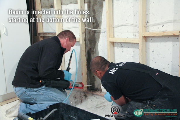 Starting at the bottom of the wall, Prime Resins 900 XLV is injected into the basement crack through the holes.