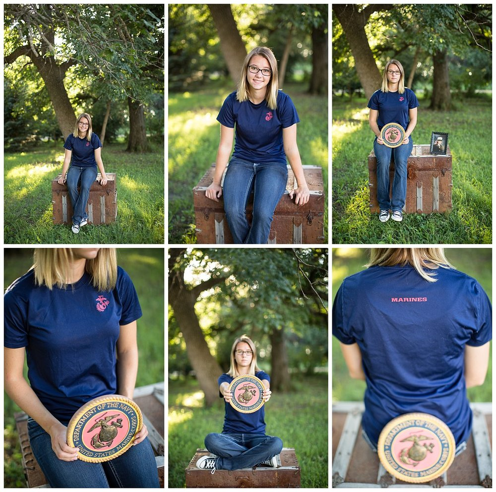 She wanted to incorporate her Marines t-shirt and plaque. She is following in her mother's and brother's footsteps.
