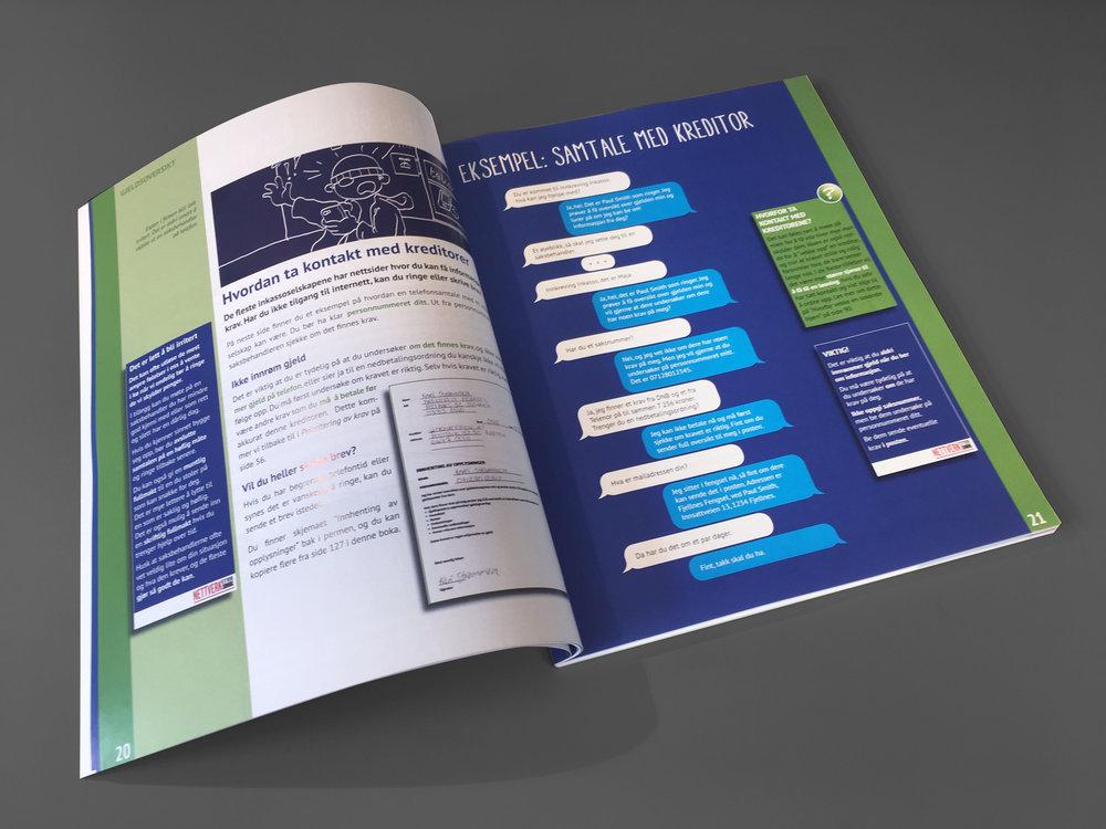 Materialet bruker samme illustrasjoner som i filmene, og viser med konkrete eksempler skritt for skritt hvordan du tar kontroll over gjelda.