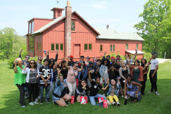 Students and faculty from Edward A. Reynolds West Side High School outside Norman Rockwell's studio, during a recent visit to Norman Rockwell Museum. Photo ©Norman Rockwell Museum. All rights reserved.