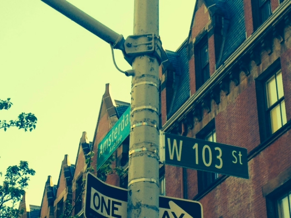 Street sign 103rd and Amsterdam