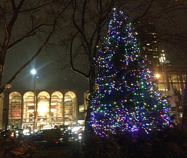 Christmas Tree with Lincoln Center across the street