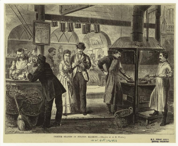 Oyster Stands in Fulton Market 1870 - NY Public Library