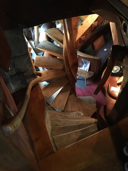 Spiral staircase looking down into the main studio work space