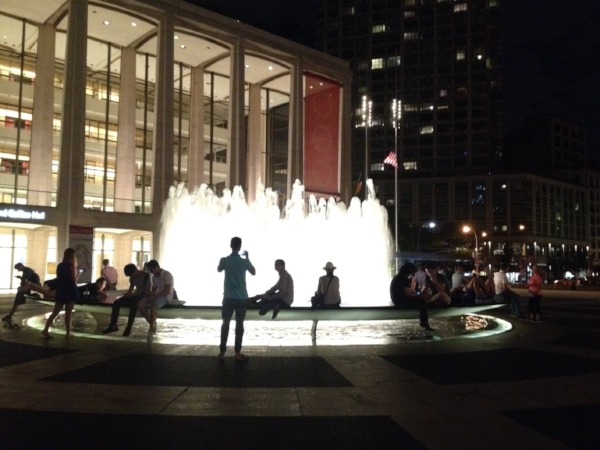 Revson Fountain at night
