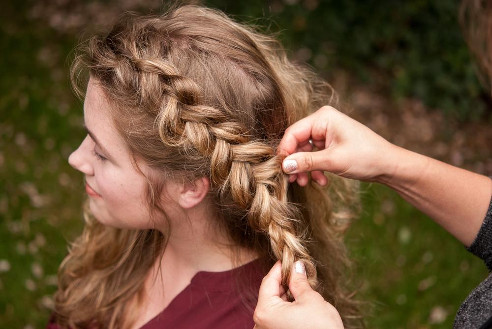 Dutch Braid Messy Bun Hair Tutorial