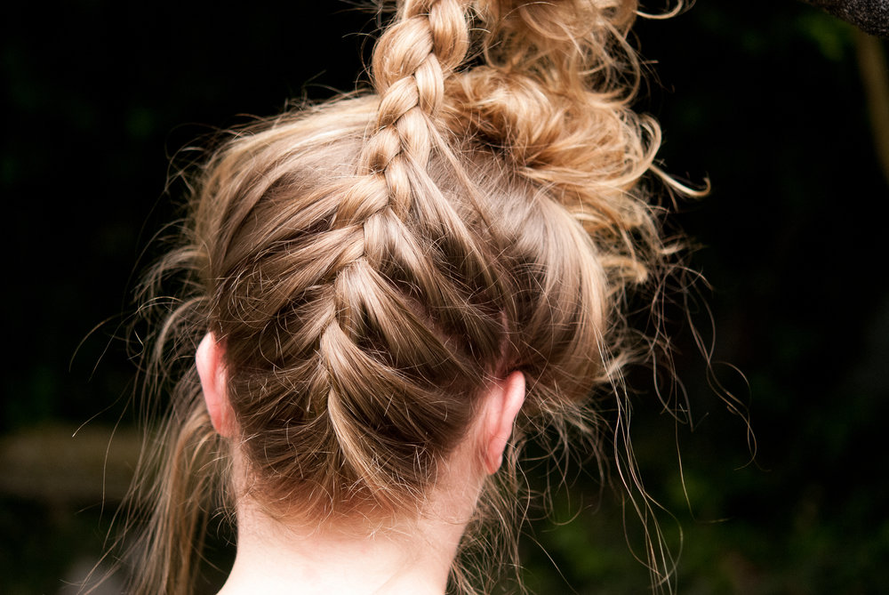 Upside Down Braided Top Knot Hair Tutorial