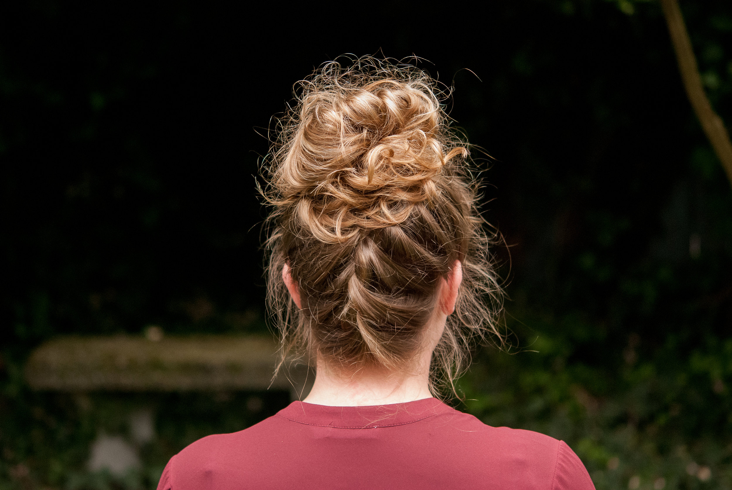 Lynden Hairstylist Upside Down Braided Top Knot The