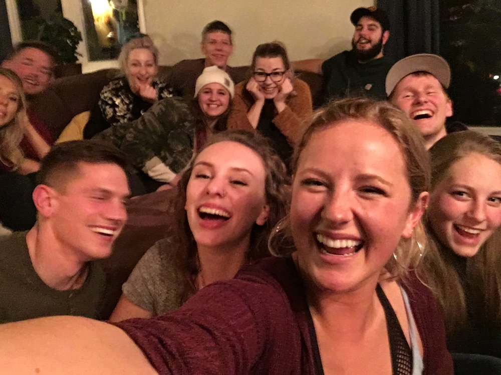 Thanks to our cousin Jenna for grabbing a couple photos last night at our Cousin Christmas Party! A perfectly blurry, grainy, absolutely joyous Christmas photo!