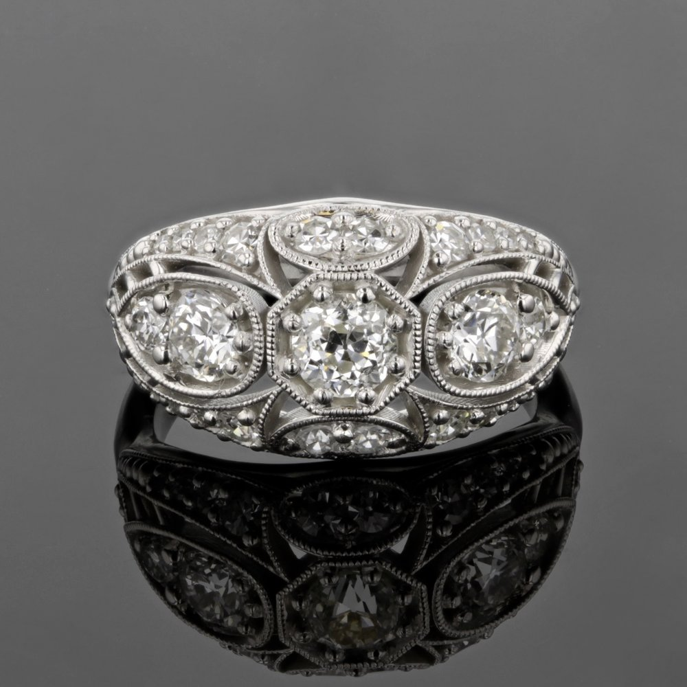 Custom Edwardian Inspired Ring with Antique Diamonds