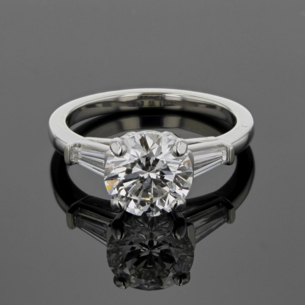 Diamond Solitaire with Tapered Baguettes