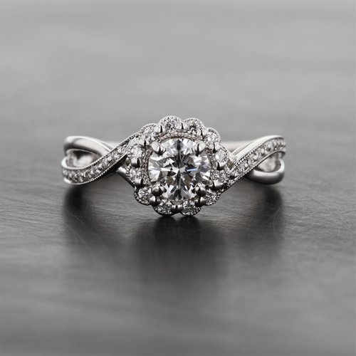 a04f59dff6c Diamond Halo Engagement Ring With Twisted Band — Kizer Cummings Jewelers