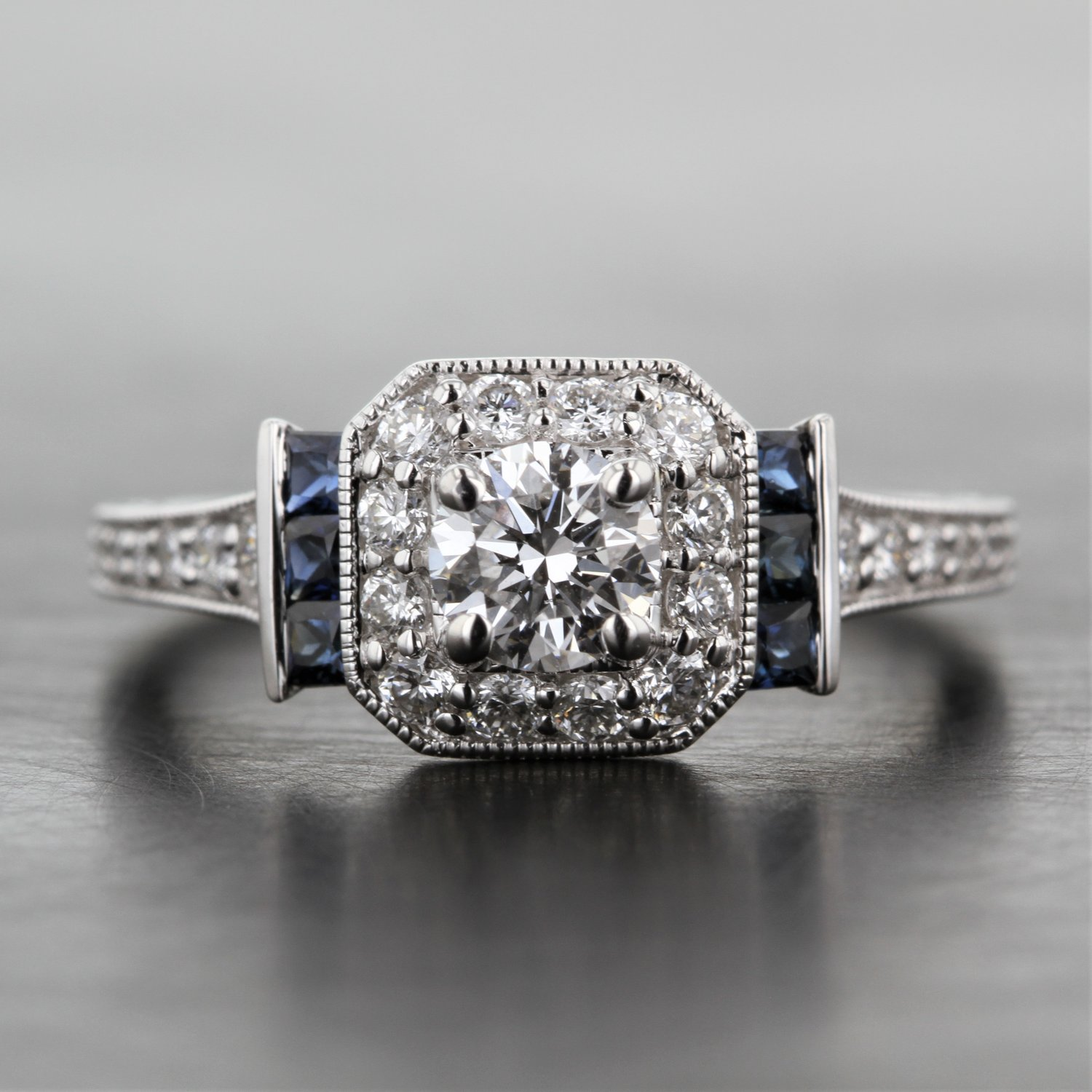 b9e6fcb924b Deco Style Diamond Halo Engagement Ring with Sapphire Detail — Kizer  Cummings Jewelers