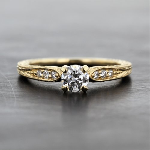 9ca0b3d93b7 Yellow Gold Vintage Detail Solitaire Engagement Ring — Kizer ...