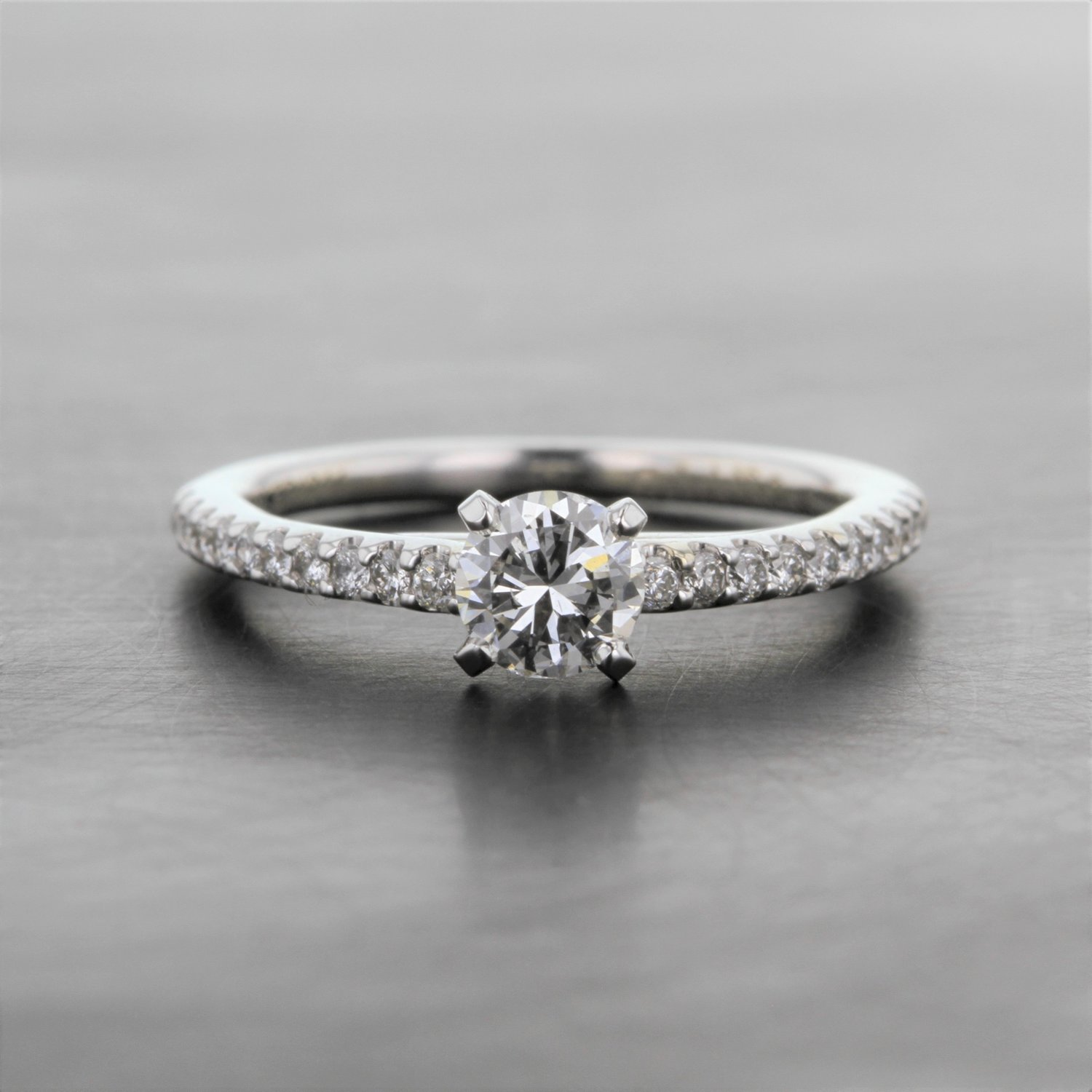 Round Solitaire Engagement Ring With Diamond Band Kizer Cummings Jewelers