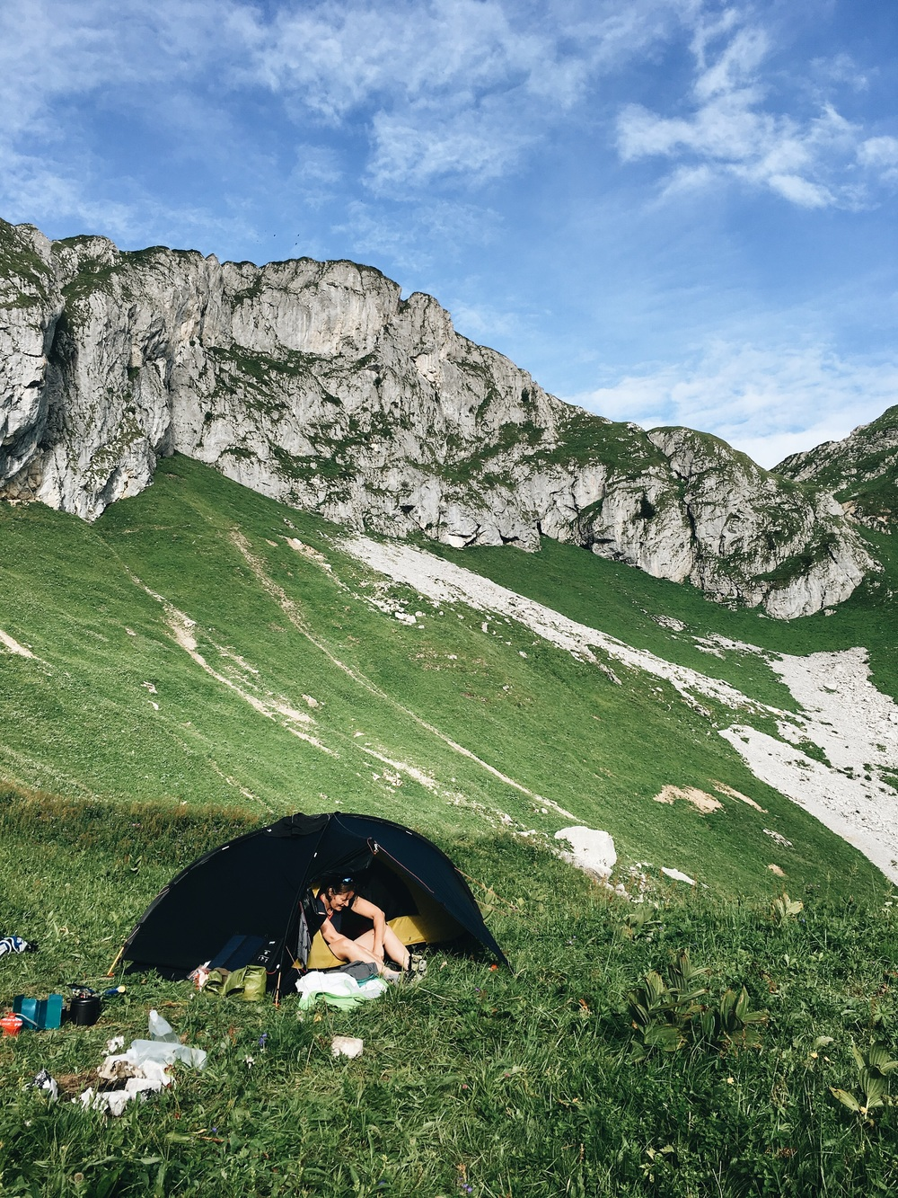 Wild camping over looking Lac De Darbon.