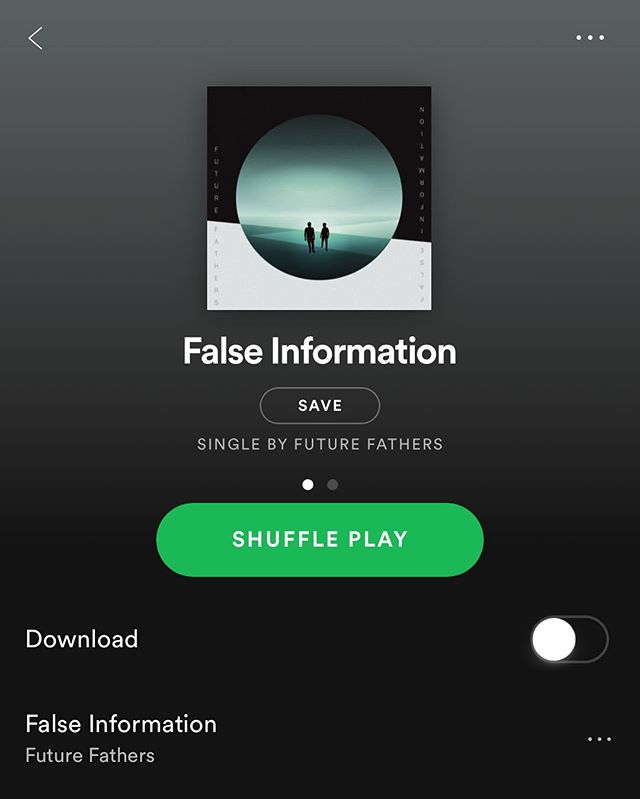 "Yes! It's finally out on Spotify! The first @future.fathers single ""False Information""! Please give it a spin!"