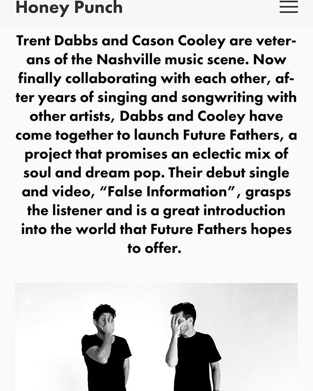 honeypunchmag.com interviewed @future.fathers and featured our video! Check I️t out! Link in bio