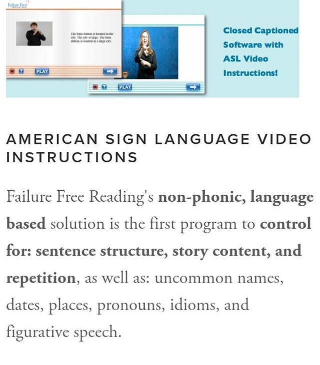 #FailureFreeReading offers instructions in #AmericanSignLanguage! Check it out for your child or student! . . #readingprogram #deafeducation  #ASL #teachingreading #homeschoolreadingprogram