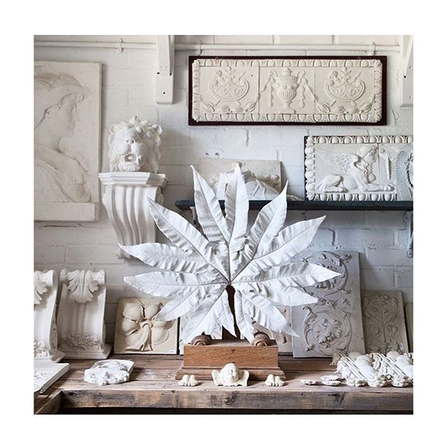 • collection of organized chaos •  leaves collected from the yard & dipped in white plaster by Peter Hone || inspiration for the beginning of #BallardDesigns ||