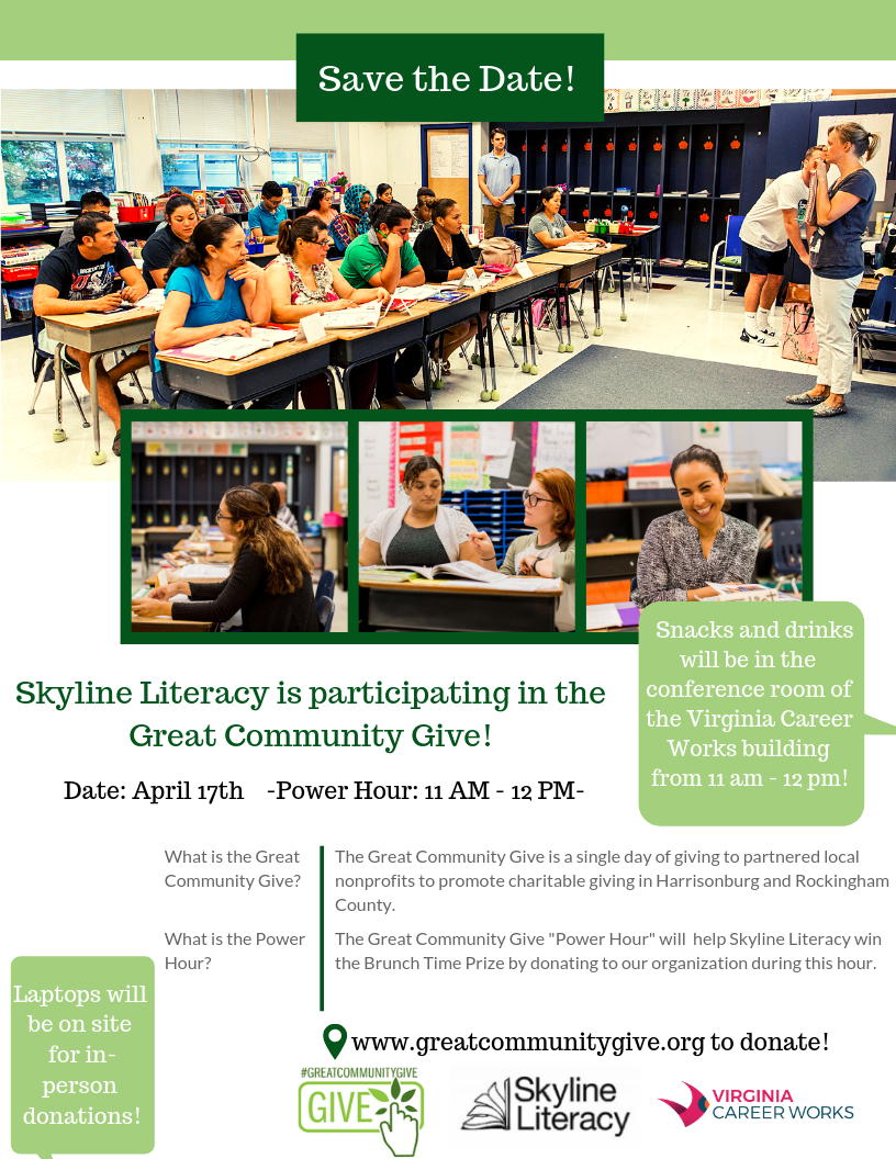 Skyline Literacy is partnering with the Great Community Give! -