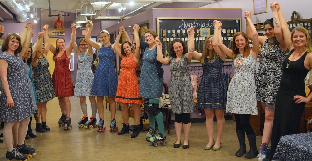 A fair trade fashion show at one of our stores in Madison, Wisconsin - the amazing models were from our local roller derby team.