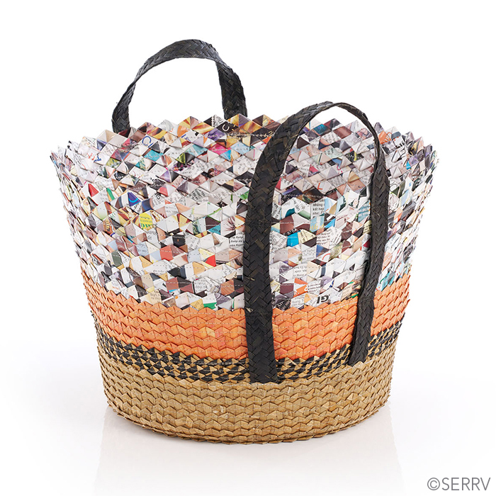 Orange Stripe Written Word Basket