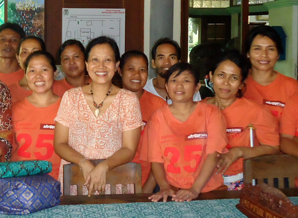 Hani Duarsa (front) with artisans who work with Mitra Bali