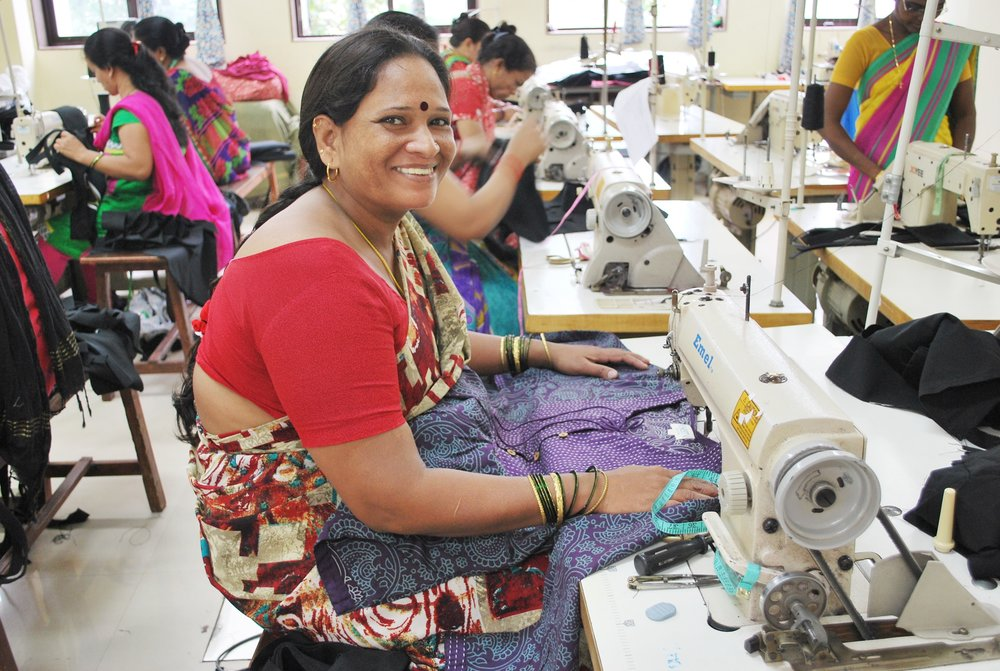 Priya Shau sews tunics and dresses for Serrv fair trade partner Creative Handicrafts.