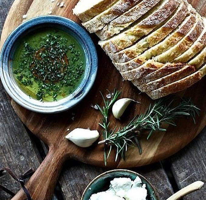Olive oil with Za'atar Mix makes an herbal bread dip. Photo: Sindyanna of Galilee.