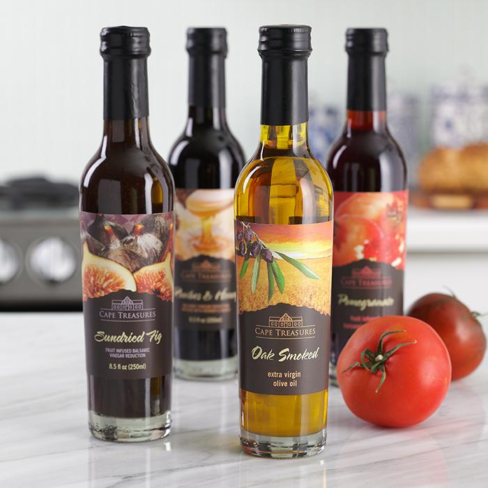 Flavored balsamic vinegar and olive oil add a quick dash of flavor to salads and dips.