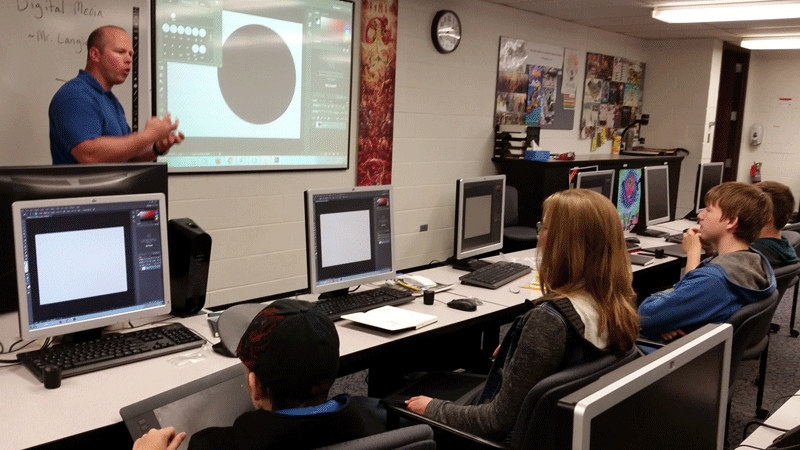 In the Digital Media class, students first designed their projects on paper, then took them digital, creating soundtracks and adding animation.