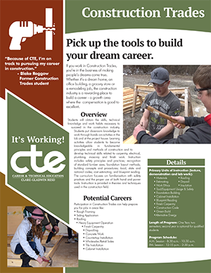 Everything you want to know about CTE's Construction Trades program in one document.