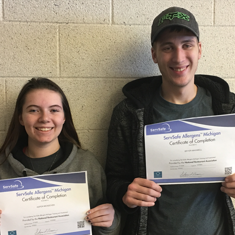 Culinary Arts afternoon students earning ServSafe Allergens certification include Aspen McKeever and Bryer Maxwell .