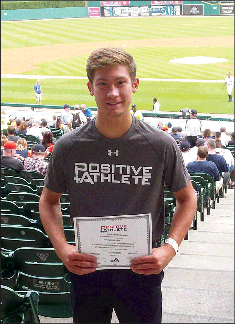 Receiving the Positive Athlete Award at Comerica Park