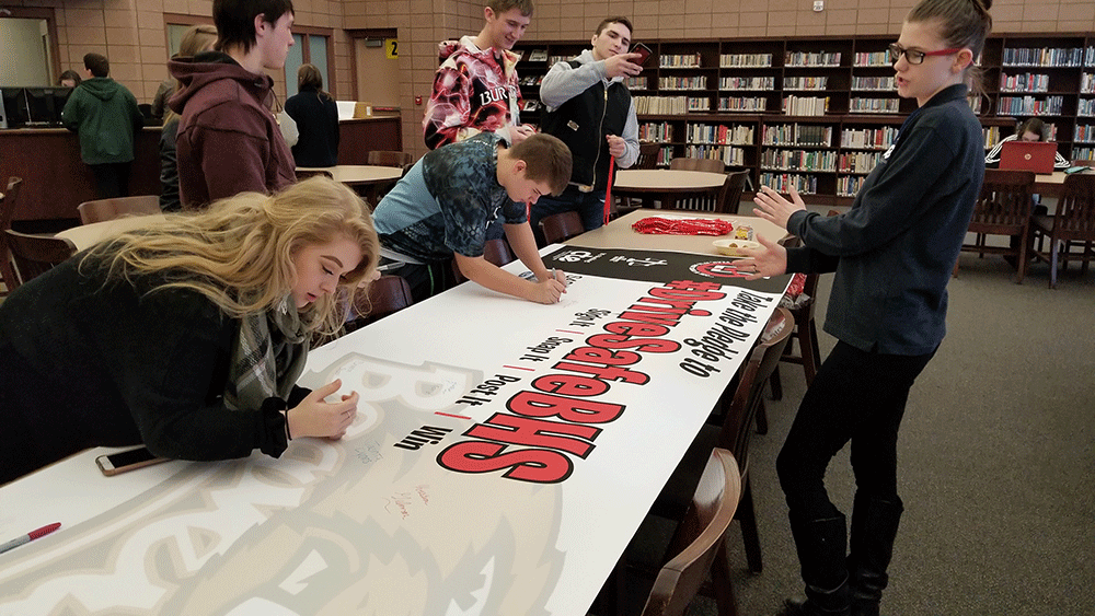 Students at Beaverton High School take the #DriveSafe pledge on Feb. 11, adding their names to those of students from high schools in Farwell, Harrison, Gladwin and Clare.