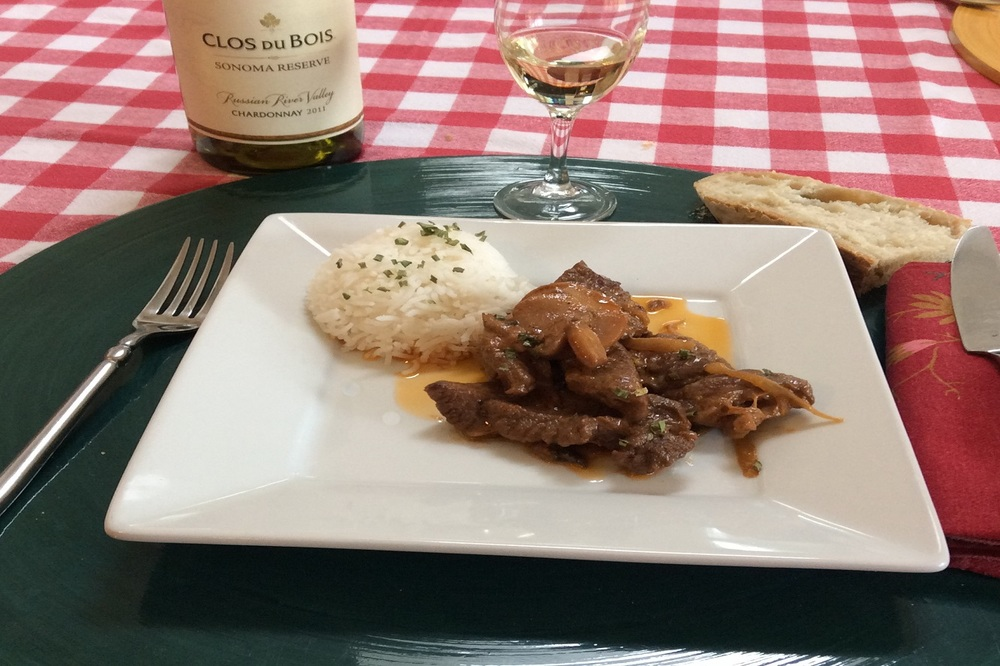 Beef Stoganoff and Herbs Purée