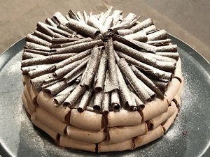 Chocolate meringue and mousse tower cake.