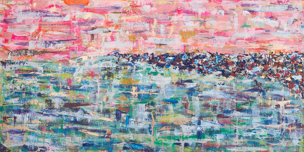 Briana Catarino Jetty, 2015 Acrylic and gold leaf on canvas 28 x 48 in.
