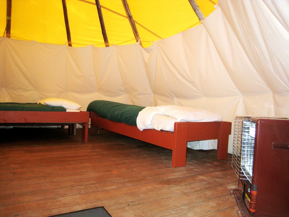 Tipi.Inside.Rental Bedding.Heater.JPG