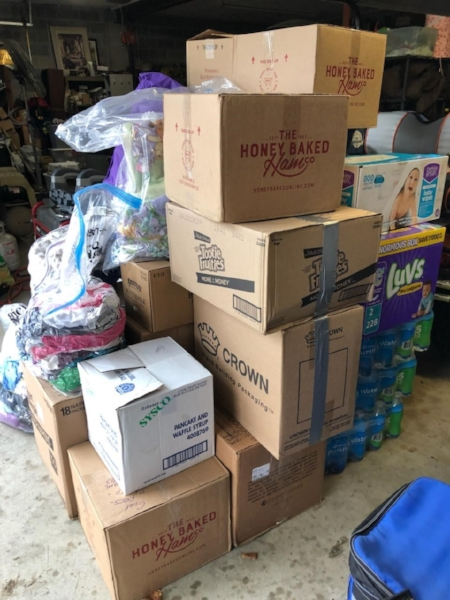 A portion of donations collected in Maryland and delivered to North Carolina.