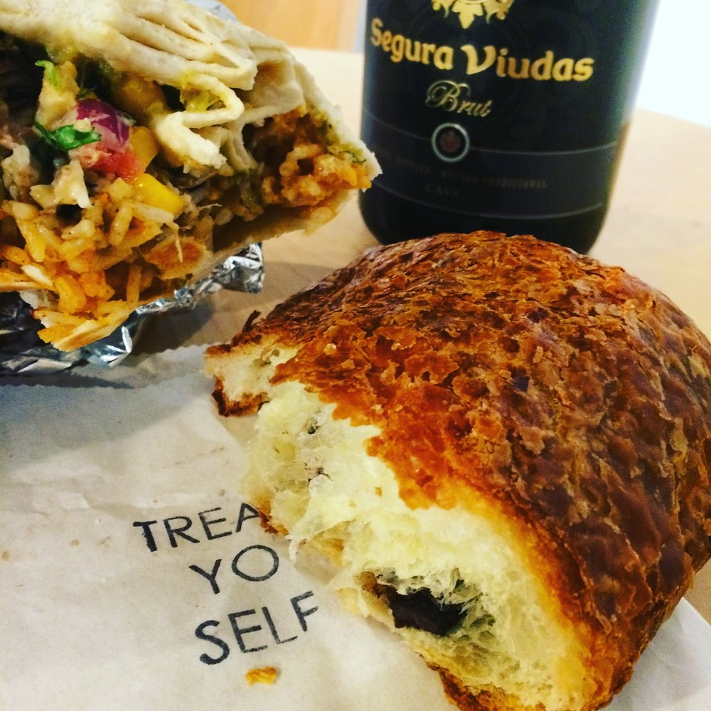 A Taco Cat burrito and Salty Tart chocolate croissant, photo by Urmila Ramakrishnan