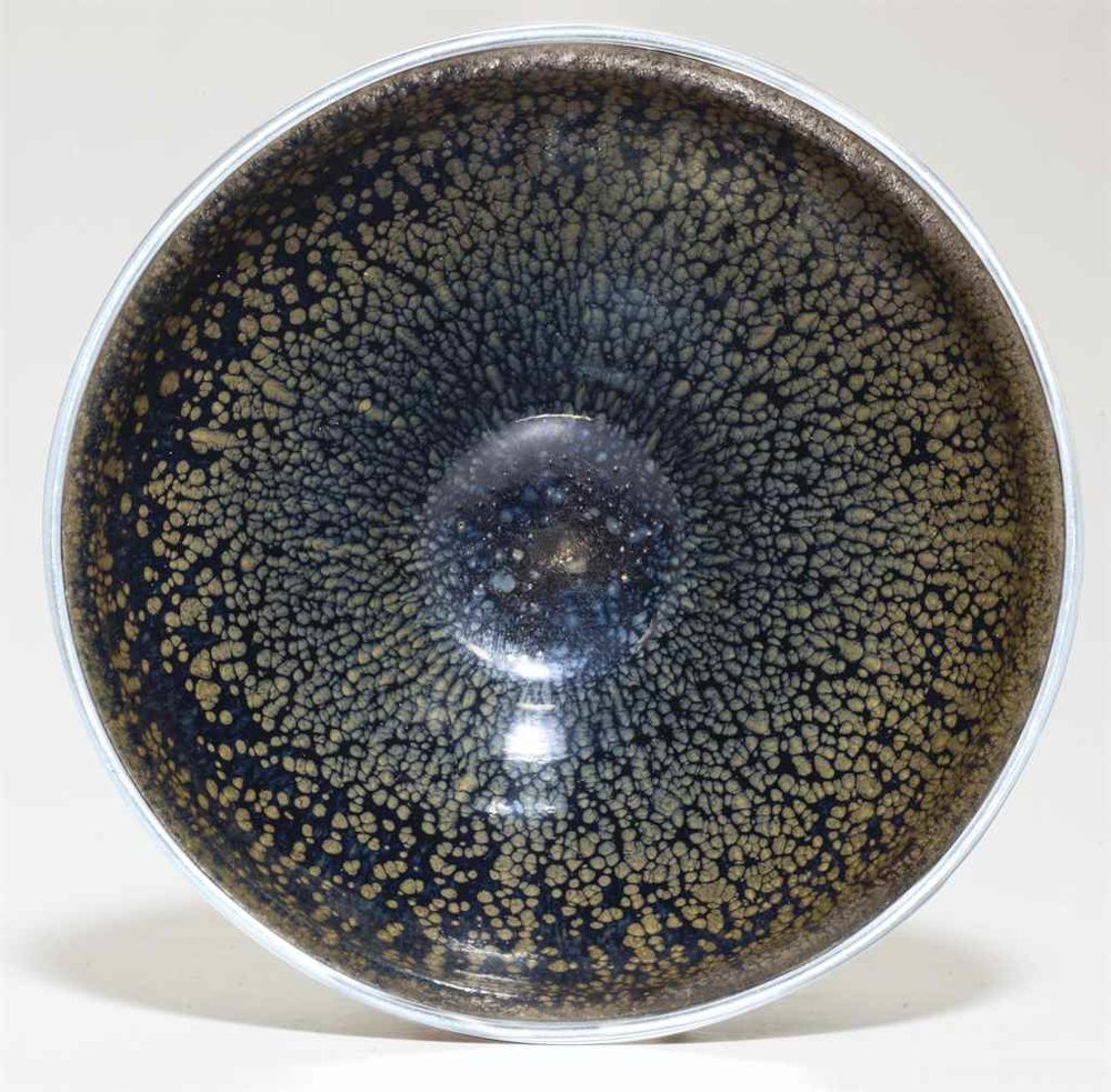 "The Kuroda Family Yuteki Tenmoku, a very rare ""oil spot"" Jian ware tea bowl, Southern Song dynasty (1127-1279),sold for US$ 11,701,000.00 at Christie's lot 707, September 15, 2016, New York"